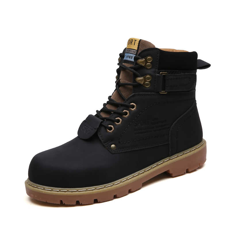 Mens leather casual winter boots waterproof snow ankle boots work shoes lace up