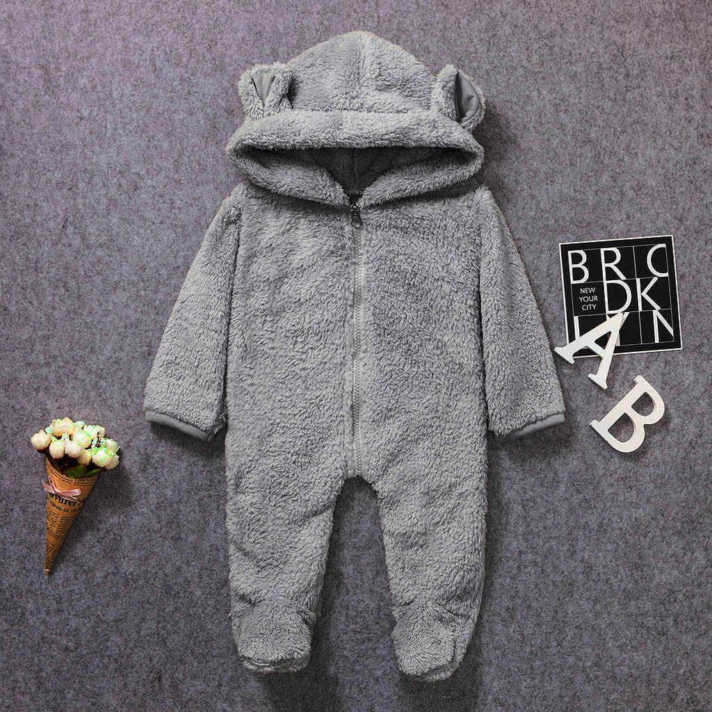 ทารกแรกเกิดเด็กทารกฤดูหนาวขนแกะ Jumpsuit Solid Hooded Romper เสื้ออบอุ่น Outwear