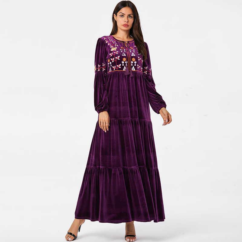 벨벳 abaya 두바이 터키어 드레스 긴 소매 hijab 이슬람 드레스 이슬람 의류 abayas 여성 caftan kaftan 가운 이슬람 아랍 에미리트 연방