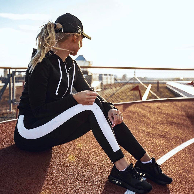 Women Pants Sport Side Striped Satin Trainer Black Pants Women High Waist Sweatpants Joggers Autumn Modern Lady Women Trousers