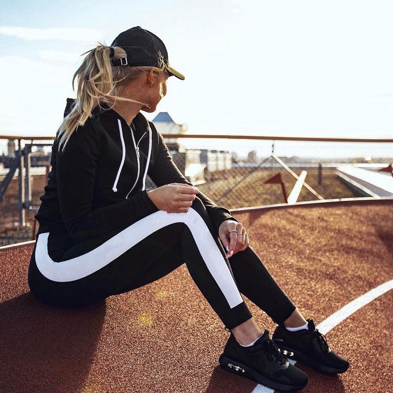 Women Pants Sport Side Striped Satin Trainer Black Pants Women High Waist Sweatpants Joggers Autumn Modern Lady Women Trousers
