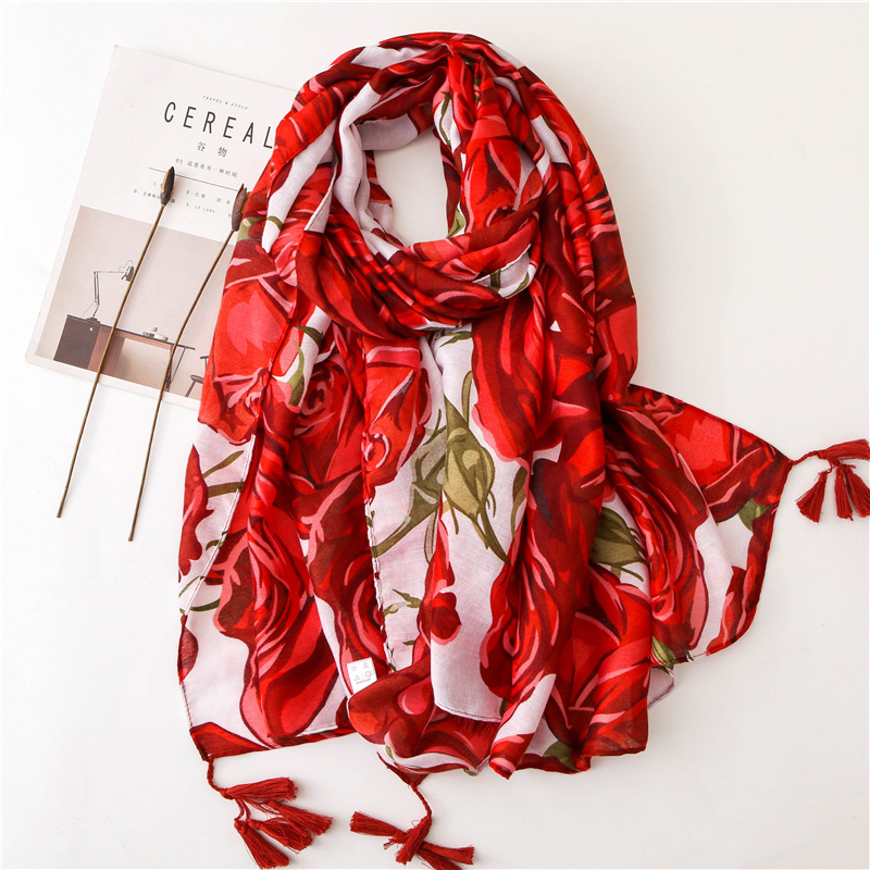 Luxury Brand Autumn Ethnic Style Red Print Silk Scarves 2020 Cotton And Linen Scarf Lady Summer Beach Sunscreen Tassels Shawls