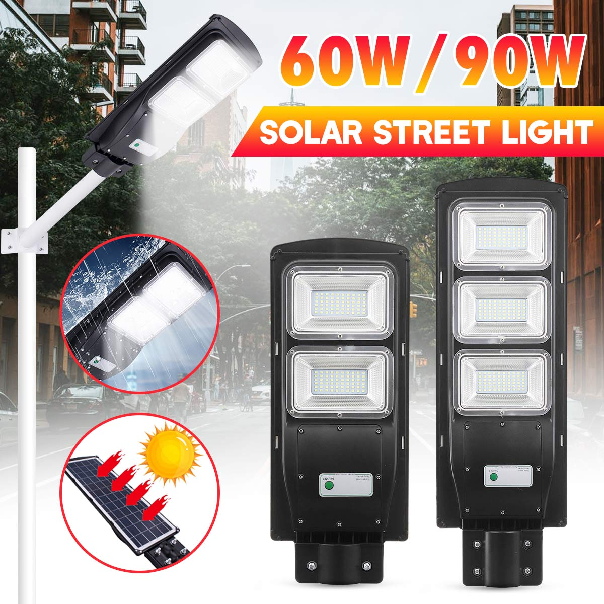 60W 90W 120/180LED Solar Street Light Rada R+PIR Motion Sensor Outdoor Wall Lamp Solar Waterproof Landscape Garden Light