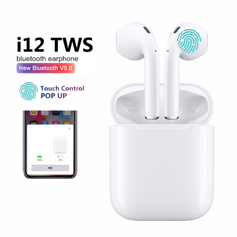 i12 TWS Bluetooth Earphone Touch Control Wireless Earbuds 1:1 Size Better Than i9 i10 i30 for iPhone Xiaomi батарейки заряжаемые от usb