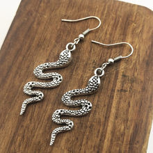 Antique Silver Color king cobra snake Charm Drop Earring, Dangle Earrings For Womens(China)