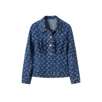 Denim Short Coat New Spring and Autumn Moon Print Blue Westernized Womens M2
