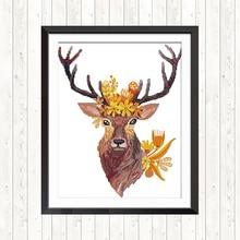 Joy Sunday Cross Stitch Elk 14CT 11CT Printed Canvas For Needlework Embroidery Kit DMC DIY Hand Crafts Home Decor