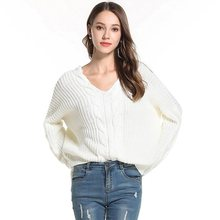 CHRLEISURE Solid braided sweater woman Sexy V-neck Autumn Winter warm sweaters Bat sleeve 2019 Cotton