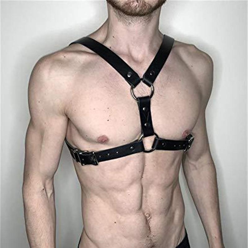 Fetish Gay Leather Tops Men Harness Belts Adjustable Body Chest Harness Belt Strap Punk Rave Costumes For BDSM Bondage Gay Sex