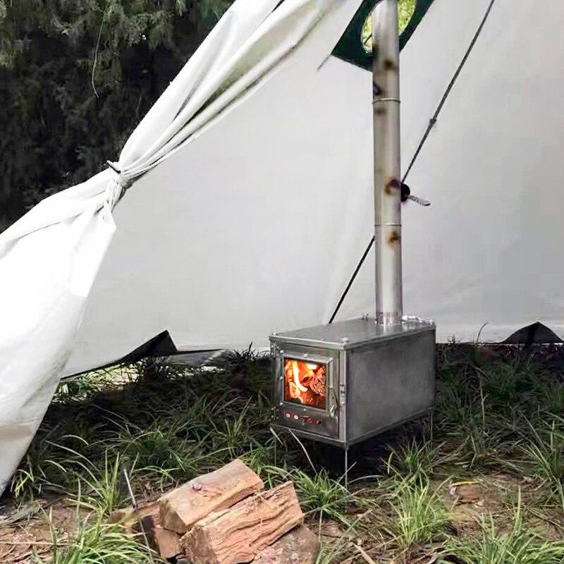 Poêle à bois en alliage de titane ultra léger extérieur tente de camping polyvalente poêle de chauffage survie en plein airRéchauds de plein air   -