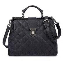 Moda ekose perçinler tasarım Pu deri kadınlar için Crossbody çanta düz renk omuz çantası kadın doktor Tote