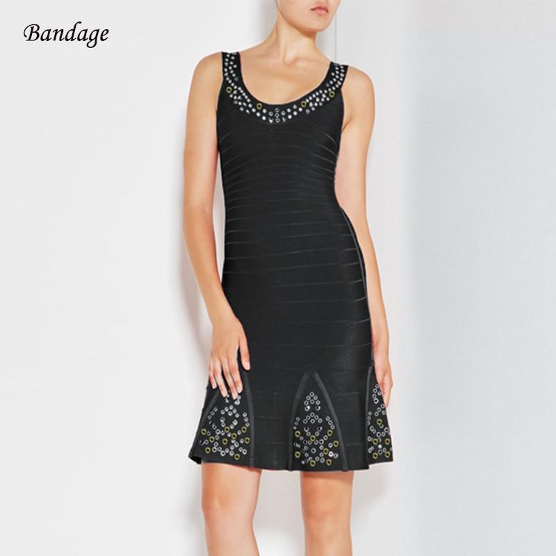 Luxe diamants Bandage robe femmes célébrité soirée robes Sexy sans manches col en V volants moulante robes Verano Club