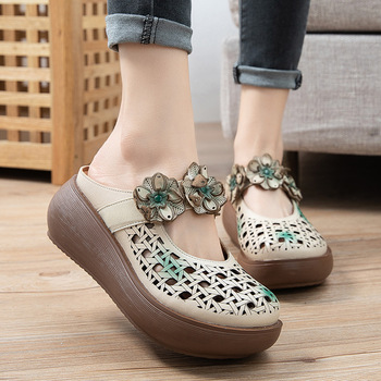 Johnature Genuine Leather Platform Slippers Women Shoes 2020 New Summer Slides Wedges Floral Outside Wear Hollow Ladies Slippers