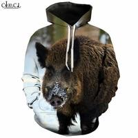 New Wild Animal Wild Boar Hoodie Men/Women 3D Print Funny Swine Hoodies Harajuku Tracksuit Pet Pig Streetwear Tops T272