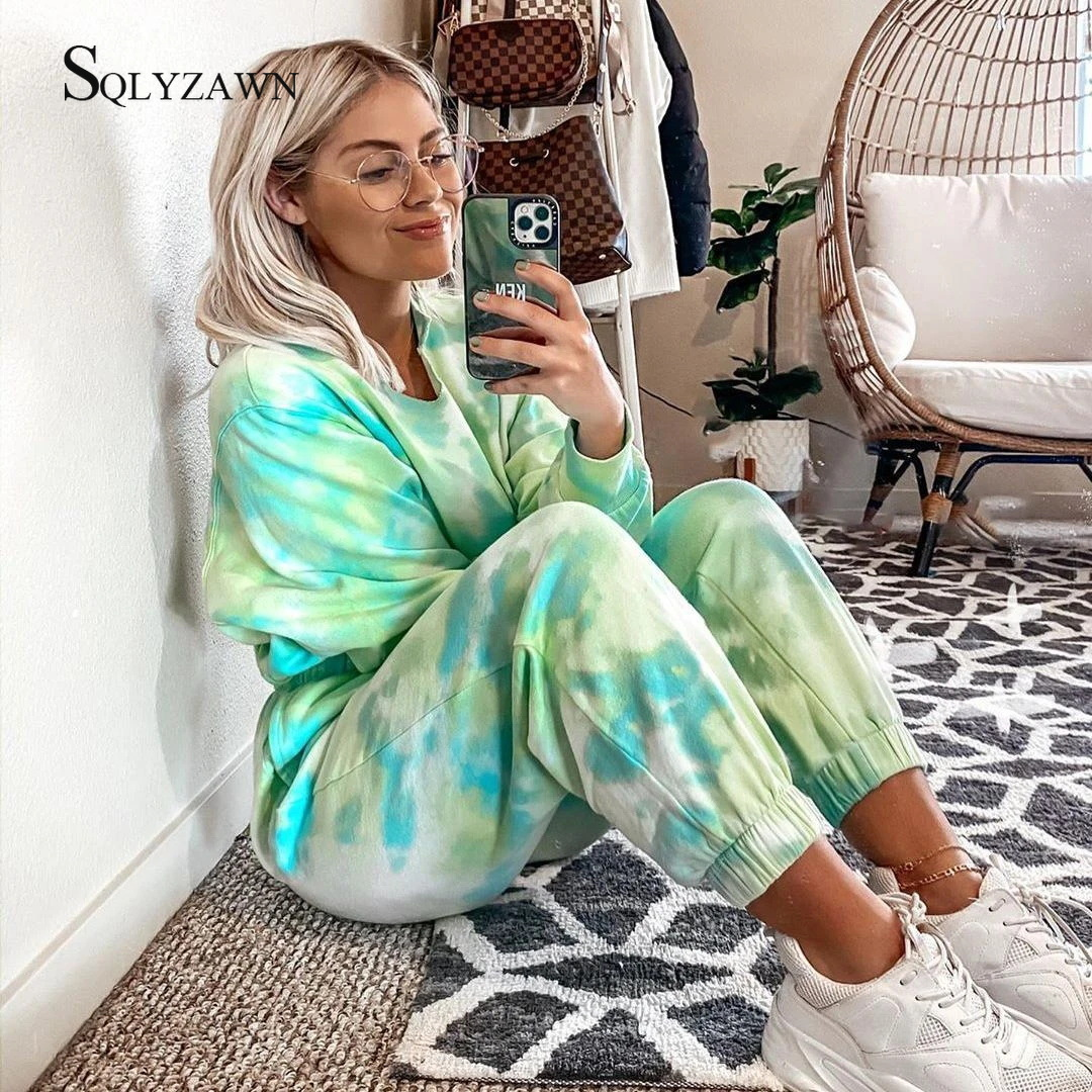Tie Dyeing 2 Piece Set Women Long Sleeve Sweatshirt Set Spring Autum Sportwear Tracksuit Sweatpants Casual Female Two Piece Suit