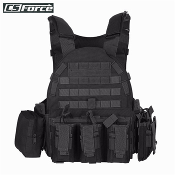 1000D Outdoor Tactical Vest with Accessory Bag + Protective Plate Hunting Wargame Paintball Airsoft Molle Military Combat Vests