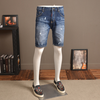 Fashion Denim Shorts with Ripped Holes Men's Slim Fit Stretch Jeans Summer Thin Knee Length Pants Korean Style sokotoo men s fashion slim fit bib overalls male holes ripped jeans knee length capri shorts for man free shipping
