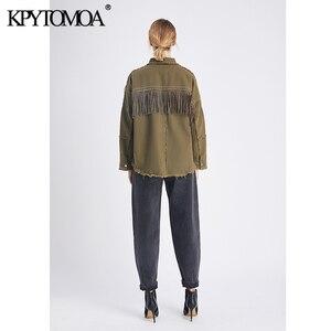 Image 5 - Vintage Stylish Fringe Beaded Loose Denim Jacket Coat Women 2020 Fashion Long Sleeve Frayed Trim Ladies Outerwear Chaqueta Mujer