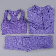 Sem costura conjunto de yoga feminino ginásio roupas de fitness roupas esportivas mulheres workout leggings push up sutiã colheita topos treinamento collants terno esportivo