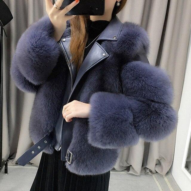 Zdfurs * 輸入キツネの毛皮のパッチワーク両面毛皮モト & バイカーコート女性2020革の毛皮のオーバーコート
