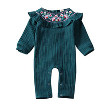 Baby Romper 2020 Newborn Kid Baby Girl Clothes Flower Embroidery Ruffle Romper Jumpsuit Long Sleeve Outfit new arrival party girl baby romper clothes embroidery turkey pattern ruffle newborn clothes matching boy romper gpf803 115