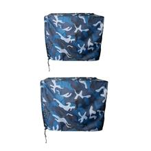 2 Pieces  Boat Outboard Motor Engine Cover Ocean Camo Trailerable for to 5 HP to15