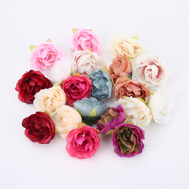 10PCS 4cm Artificial Flower Head Silk Peony For Wedding Decoration Party DIY Handmade Wreath Gift Scrapbooking Craft Fake Flower
