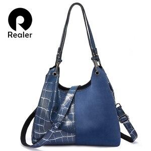 Image 1 - Realer women handbag luxury genuine leather Patchwork pattern cross body shoulder bag female messenger bag high quality for lady
