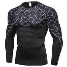 Мужская быстросохнущая облегающая дышащая спортивная рубашка с принтом с длинным рукавом и круглым вырезом FOU99