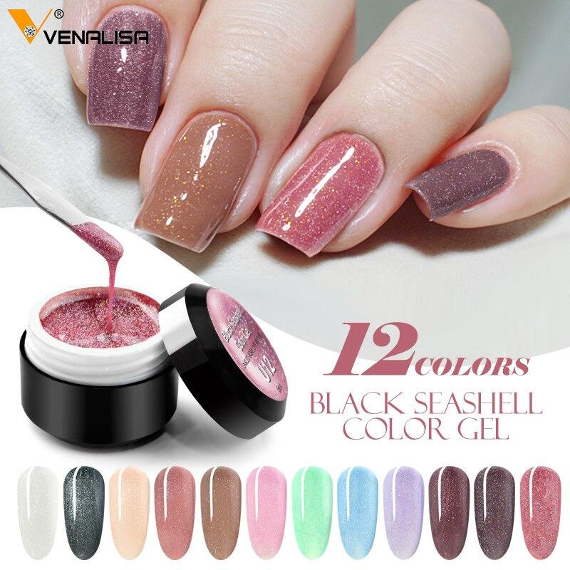Glitter Pigment Black Seashell Color Gel Nail Gel Polish Starry Painting Gel Varnish Bling Pearl Venalisa Color Gel Lacquer