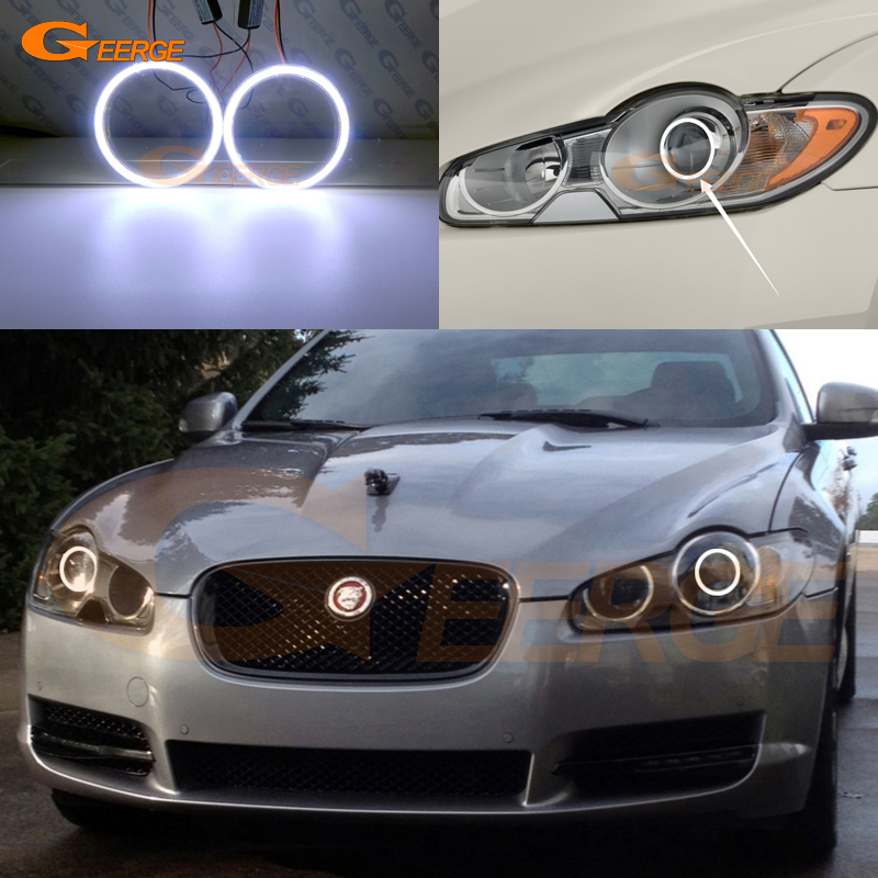 Excellent COB Led Angel Eyes Kit Halo Rings Ultra Bright For JAGUAR XF 2008 2009 2010 2011 Pre Facelift XENON HEADLIGHT