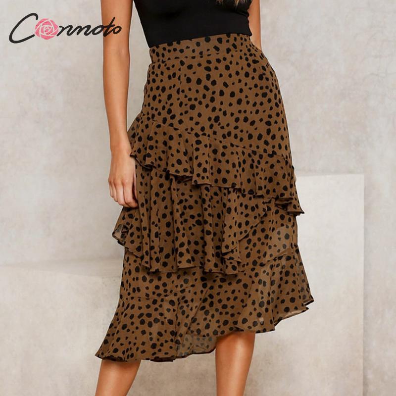 Conmoto Autumn Winter Fashion Leopard Ruffle Long Skirts Women 2019 Female Chic Asymmetry Long Skirts Lady Beautiful Party Skirt
