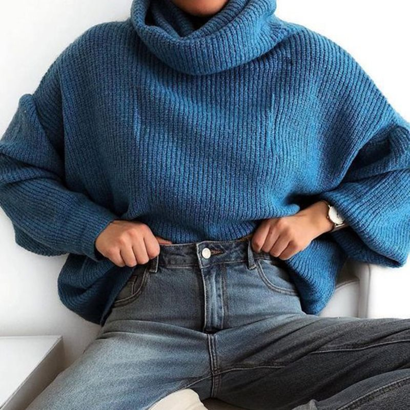 2018 Women Ladies Turtleneck Winter Tops Chunky Knitted Oversized Sweater Jumper