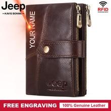Rfid 100% Genuine Leather Men Wallet Coin Purse PORTFOLIO Male Portomonee Money Bag Quality Designer Free Engrave Wallet