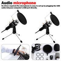 Condenser Mic Professional PC Microphone Set USB Plug for Live Stream Broadcasting Recording Gaming Conference Voice Microphone