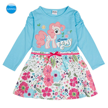 JUXINSU My Baby Girl Little Pony Cartoon Cotton Girls Long Sleeve Flower Dresses Pony Dress Autumn Winter for 1-6 Years samgami baby new summer cute dress little girls dress my pony spring girl short sleeve dresses my girls princess for little pony