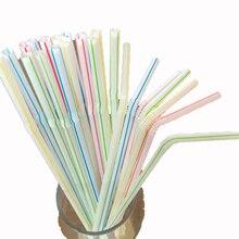 500 шт питьевой соломы для свадебной вечеринки PP день рождения Ресторан Одноразовые нетоксичные гибкие цветные праздничные аксессуары