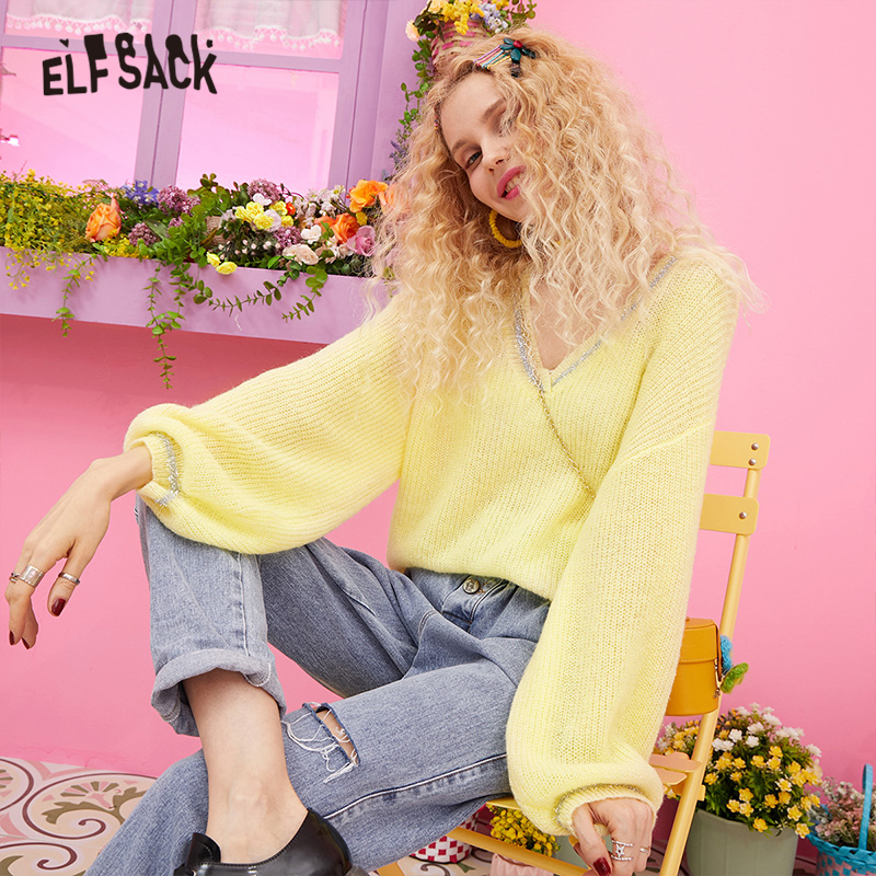 ELFSACK V Neck Yellow Striped Trim Casual Knitted Sweater Women Clothes 2019 Autumn White Korean Style Office Ladies Sweaters