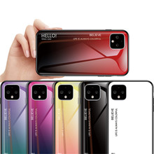 Gradient Tempered Glass Phone Case for Google Pixel 2 3 3a 4 XL Aurora Rainbow Shockproof Hard Bumper Full Protective Back Cover(China)