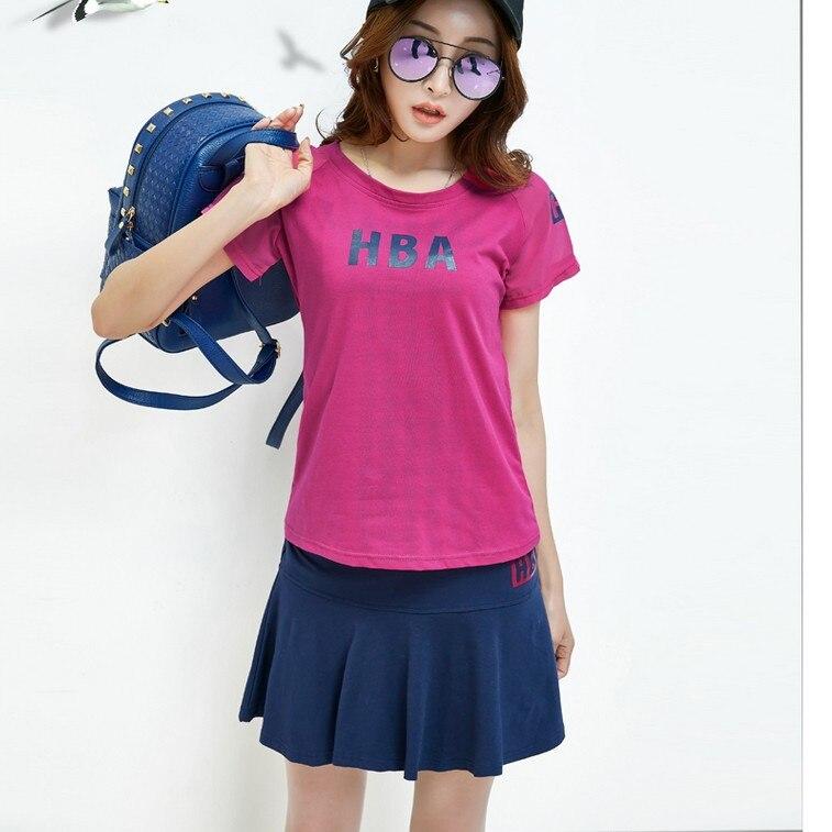 2018 Sports Suit Skirt Short Sleeve T-shirt Short Skirt Summer Slim Fit Slimming Tennis Casual Dress Outfit Women's