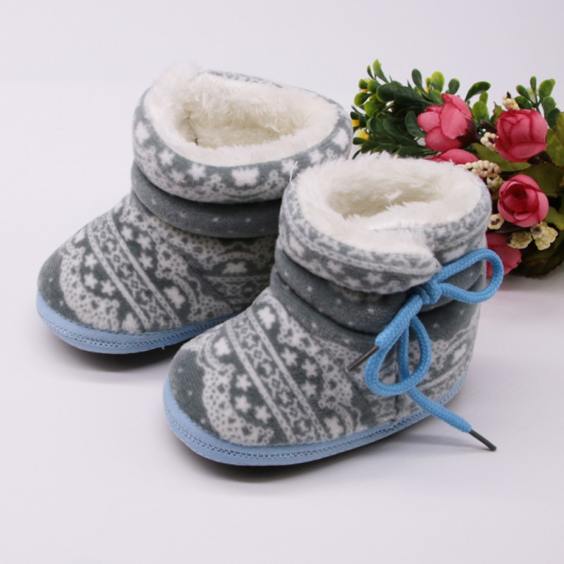 Cute Print Baby Boots Newborn Lace Up First Walkers Baby Girls Boys Onesize Shoes Soft Sole Cotton Winter Booties For 0-18M