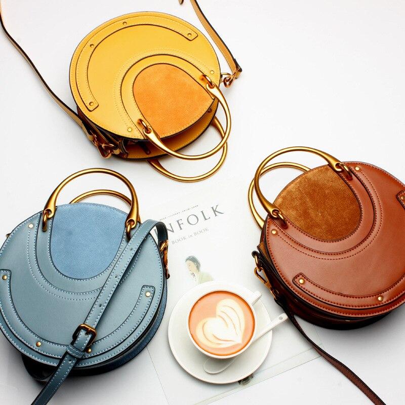 Роскошные дизайнерские женские сумки из натуральной кожи, металлическая маленькая круглая сумка, женские сумочки, клатч, женская сумка через плечо - 2