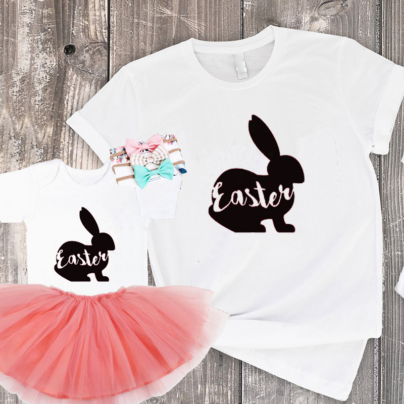 Family Mom And Daughter Matching Clothes New Fashion Kids Print Top Happy Easter Shirt Womens Bunny Easter Outfit Matching