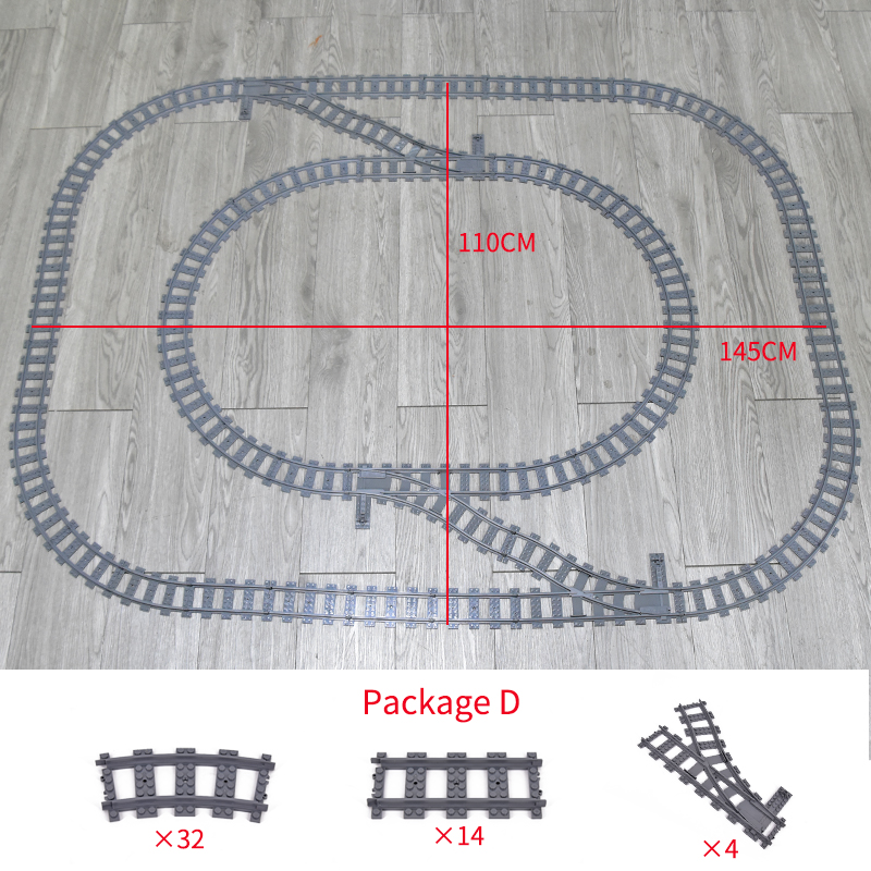 City Trains Flexible Tracks Forked Straight Curved Rails Switch Building Block Bricks High Tech Creator Toys for kids gifts