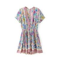 Summer Women Casual Short Sleeve Mini Dress Fashion V Neck A Line Bohemian Dress Peacock Floral Print Beach Dress