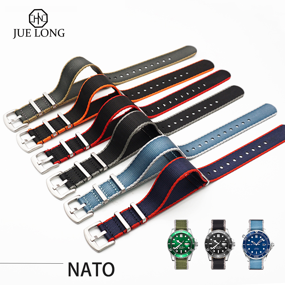 High Quality 20MM 22MM Seatbelt Watch Band Stainless Steel Buckle Nato Strap