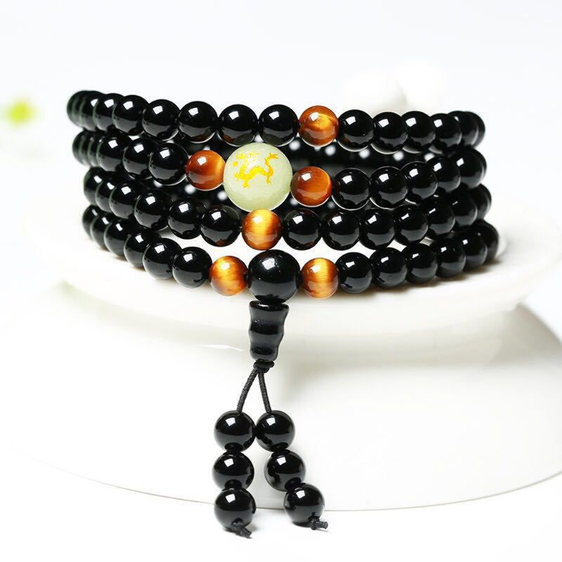 Amazing Sleep Aid 108 Beads Black Obsidian Magnetic Therapy Bracelet Weight Loss Anniversary/Valentine's/Mother's Day Gifts