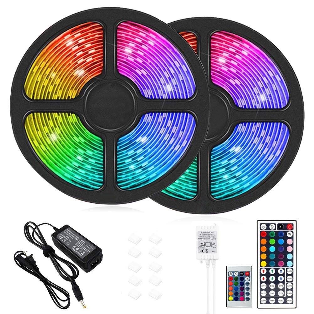 2 шт./компл. 5 м Светодиодные ленты светильник s цветная (RGB) Водонепроницаемый светильник ленты 10 м 300 светодиодный s удаленный Управление деко