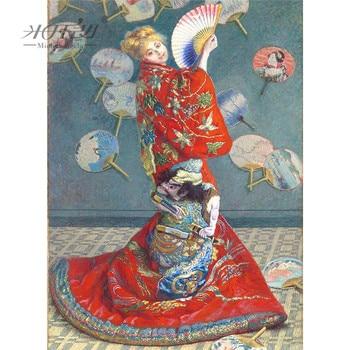 Michelangelo rompecabezas de madera 500 piezas de Claudio Monet camisón Monet en pintura de disfraz japonés arte educativo juguete Decoración