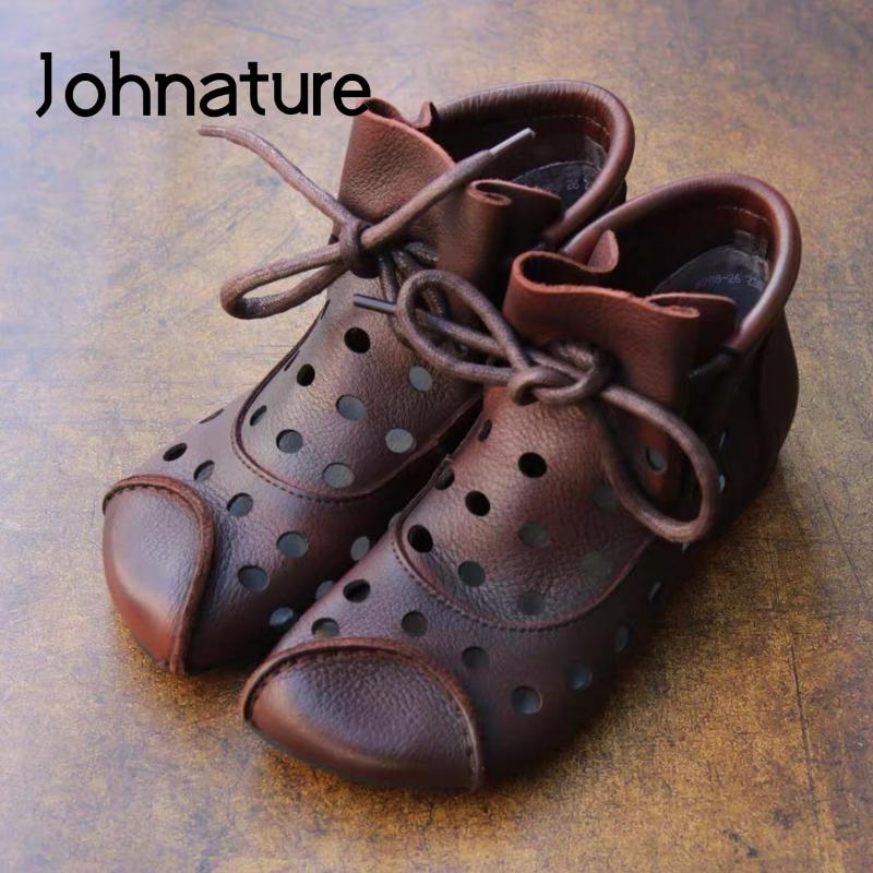 Johnature/женские ботильоны; Обувь из натуральной кожи; Новинка 2020 года; Женские ботинки ручной работы в стиле ретро с закругленным носком на шнуровке для отдыха|Полусапожки|   | АлиЭкспресс